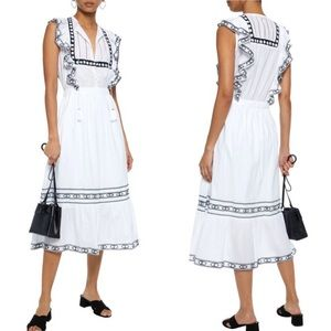 SEA NY Amelie Ruffle Trim Embroidered Midi Dress